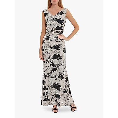 Gina Bacconi Macara Floral Jersey Maxi Dress, Black Stone