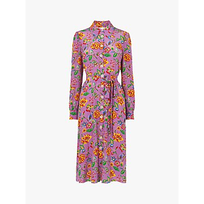 L.K.Bennett Runa 1940s Floral Print Silk Dress, Purple