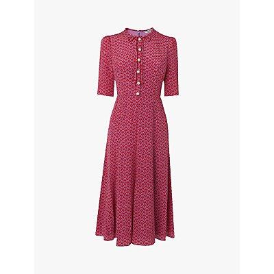 L.K.Bennett Montana Abstract Print Silk Dress, Pri-Red/Multi