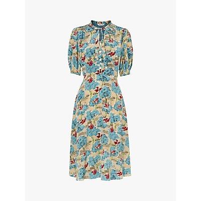 L.K.Bennett Marceau Tuileries Print Silk Dress, Pale Blue