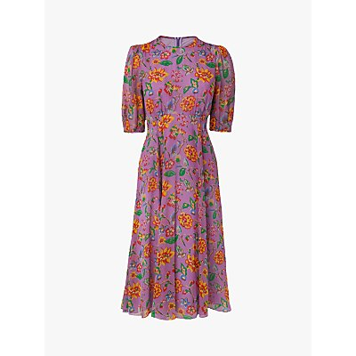 L.K.Bennett Garland 1940s Floral Print Silk Dress, Purple