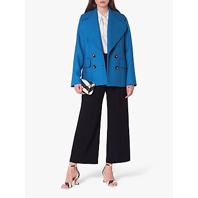 L.K.Bennett Jacob Wool Blend Pea Coat, Electric Blue