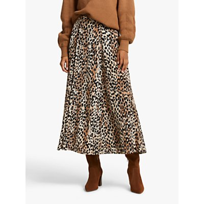 AND/OR Cici Blurred Leopard Print Maxi Skirt, Multi