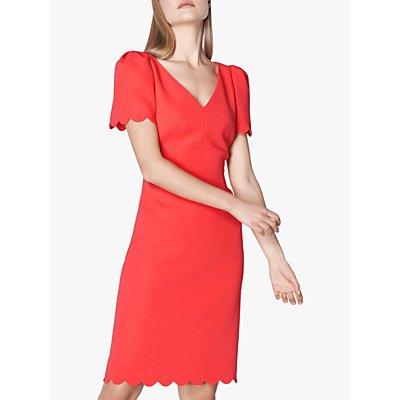 L.K.Bennett Enid Scallop Edge Shift Dress, Geranium