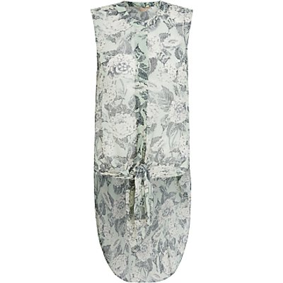 Modern Rarity Archive Pointelle Bloom Tie Front Sleeveless Tunic Top, Green/Multi