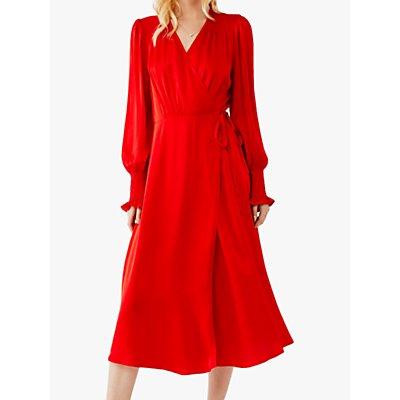Ghost Sanna Flared Wrap Dress, Poppy