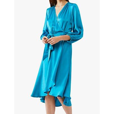 Ghost Aggie Waist Tie Dipped Hem Satin Wrap Dress, Mid Blue