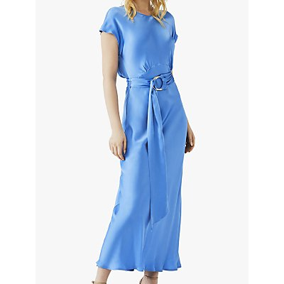 Ghost Reiko Satin Belted Dress, Mid Blue