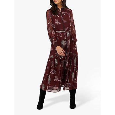 Monsoon Saffy Print Shirt Dress, Berry