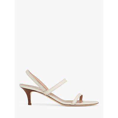 L.K.Bennett Natasha Leather Kitten Heel Sandals, Off White