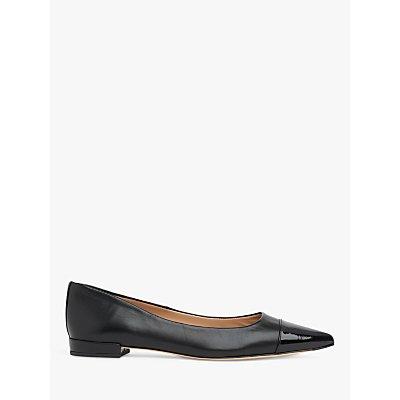 L.K.Bennett Perth Flat Leather Court Shoes, Black
