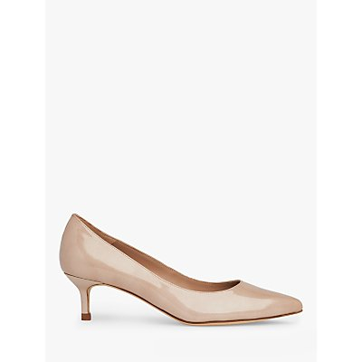 L.K.Bennett Audrey Crinkle Patent Pointed Toe Court Shoes, Nude Metallic