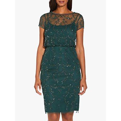 Adrianna Papell Beaded Short Dress, Dusty Emerald