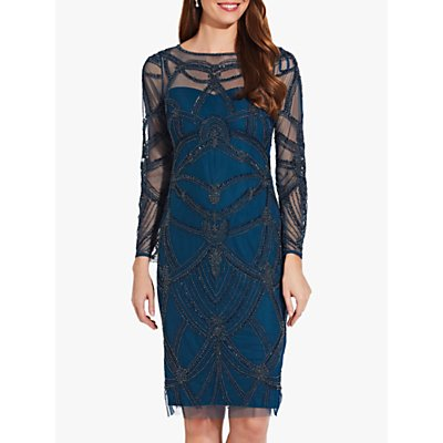 Adrianna Papell Beaded Cocktail Dress, Teal Crush