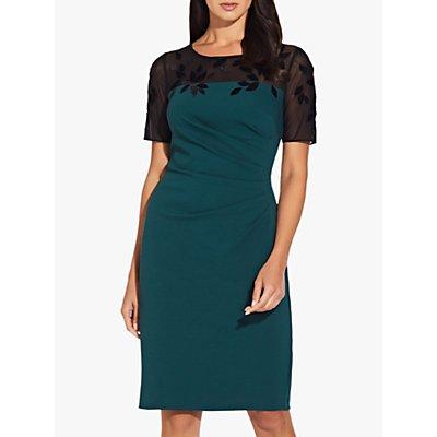 Adrianna Papell Crepe Sheath Dress, Hunter/Black