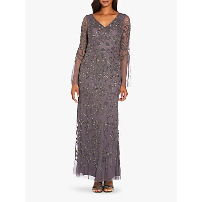 Adrianna Papell Beaded Mesh Maxi Dress, Grey