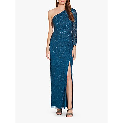 Adrianna Papell Beaded Column Dress, Teal Sapphire