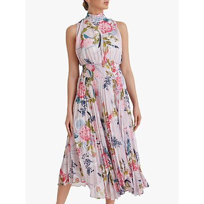 Fenn Wright Manson Petite Orianne Floral Print Midi Dress, Raspberry Print