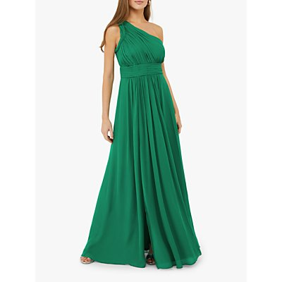 Monsoon Dani One Shoulder Maxi Dress, Emerald Green