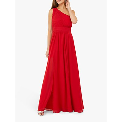 Monsoon Dani One Shoulder Ruched Maxi Dress, Bright Red