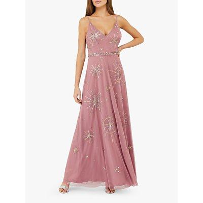Monsoon Arabella Star Embellished Maxi Dress, Pink