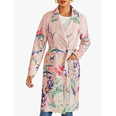Yumi Bird Print Wrap Coat, Pink