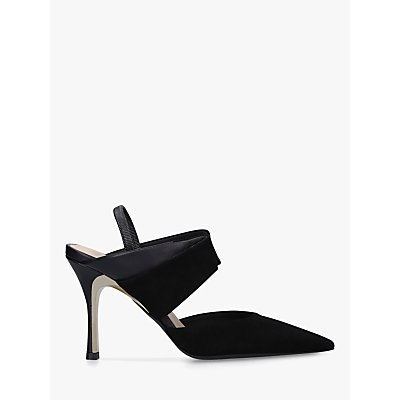 Furla Fold 90 Slingback Stiletto Heel Leather Court Shoes, Black