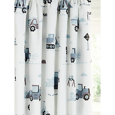 little home at John Lewis Construction Print Pencil Pleat Blackout Children s Curtains  Multi - 5059139621179