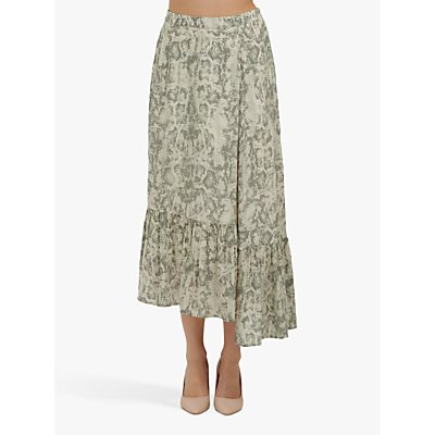 Lily and Lionel Cleo Snake Print Maxi Skirt, Sage