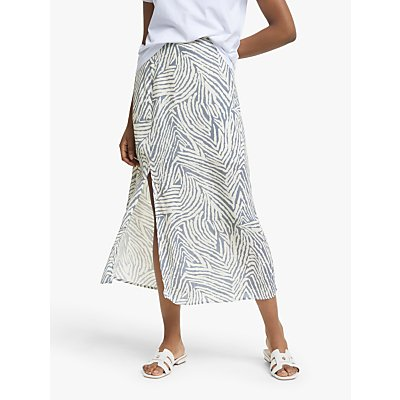 Lily and Lionel Grace Zebra Print Maxi Skirt, Moss Blue