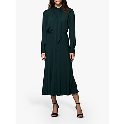 Winser London Georgette Midi Skirt, Dark Green