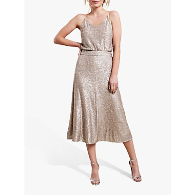 Pure Collection Sequin Midi Skirt, Antique Gold