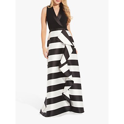 Adrianna Papell Mikado Monochrome Stripe Dress, Black/Ivory