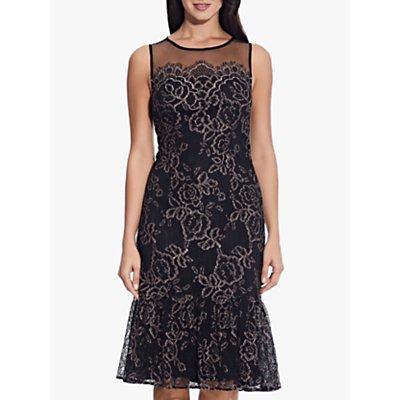 Adrianna Papell Maria Floral Lace Midi Dress, Blush/Black
