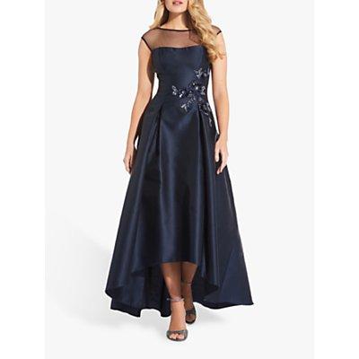 Adrianna Papell Mikado High Low Hem Dress, Midnight Blue
