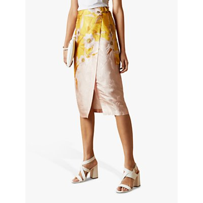 Ted Baker Hesper Cabana Floral Print Wrap Skirt, Yellow/Multi