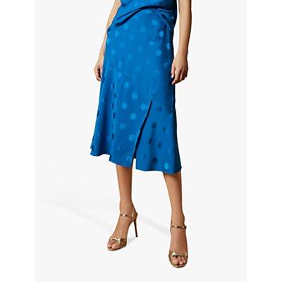 Ted Baker Spot Midi Skirt, Bright Blue