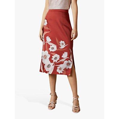 Ted Baker Cabana Floral Print Slip Skirt, Dark Brown