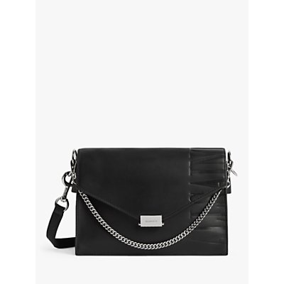 AllSaints Albion Leather Chain Shoulder Bag, Black
