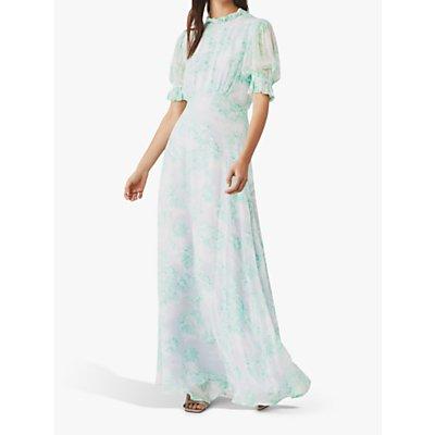 Ghost Alicia Meadow Print Maxi Dress, Hibiscus Meadow Aqua