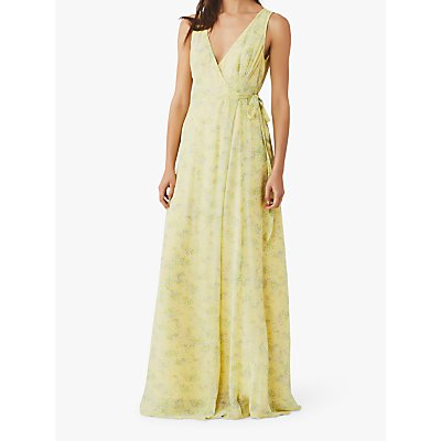 Ghost Juniper Sleeveless V-neck Bridesmaid Maxi Dress, Micro Ditsy Yellow