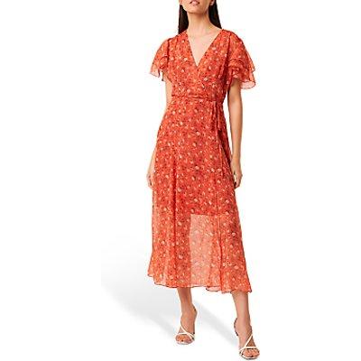 French Connection Esi Crinkle Floral Print Midi Tea Dress, Pumpkin/Multi