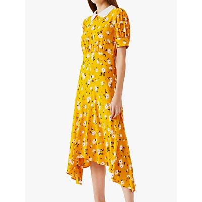 Ghost Tiggy Daisy Print Asymmetric Hem Dress, Mary Yellow