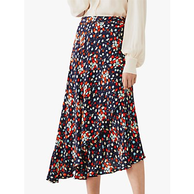 Ghost Jenni Floral Print Midi Skirt, Navy/Multi