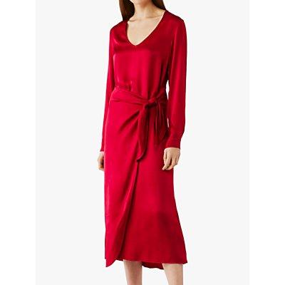 Ghost Brooke Belted Midi Dress, Hot Pink