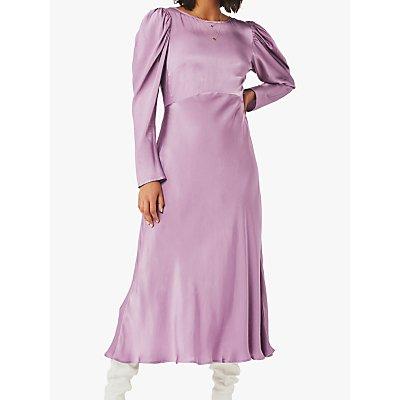 Ghost Rosaleen Flared Satin Dress, Deep Mauve