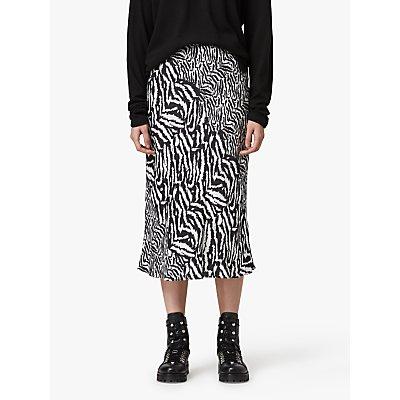 AllSaints Rayne Remix Animal Print Midi Skirt, White/Multi