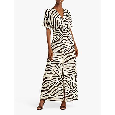Lauren Ralph Lauren Niklos Short Sleeve Zebra Print Maxi Dress, Dark Brown/Multi