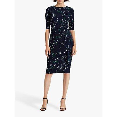 Lauren Ralph Lauren Shyla Elbow Sleeve Floral Print Day Dress, Lighthouse Navy/Regal Sapphire