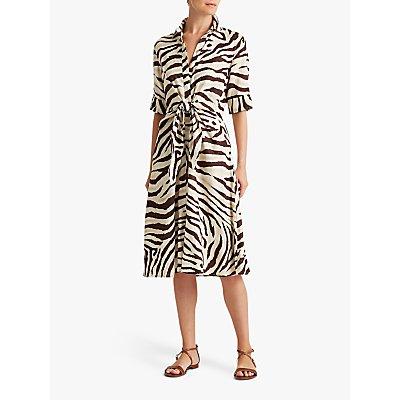 Lauren Ralph Lauren Zebra Stripe Shirt Dress, Dark Brown/Multi